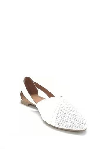 Ballerins Hakiki Deri El Yapımı Beyaz Babet Blrs-2480 Beyaz